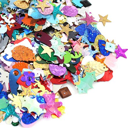 Assorted Sequins & Spangles, Mixed Shiny Colors and Shapes 50 gr