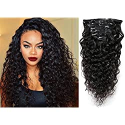 "20"" Water Wave Curly Clip in Human Hair Extensions Natural Black 7 Pcs 120g Wavy Remy Clip in Hair Extension for Black Women Natural Curly Hair Clip ins"
