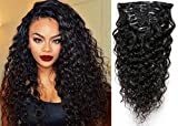 20' Water Wave Curly Clip in Human Hair Extensions Natural Black 7 Pcs 120g Wavy Remy Clip in Hair Extension for Black Women Natural Curly Hair Clip ins