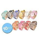 Wholesale Lot of 10 Pcs Unisex Men Women Lady Teen Girl Geneva Gold Plated Platinum Style PU Leather Round Wrist Watches