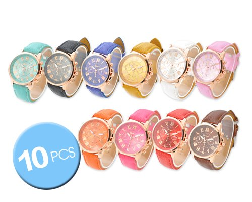 CdyBox Wholesale Lot of 10 Pcs Unisex Men Women Lady Teen Girl Gold Plated Platinum Style PU Leather Round Wrist Watches (Wrist Gold Plated Leather Watch)