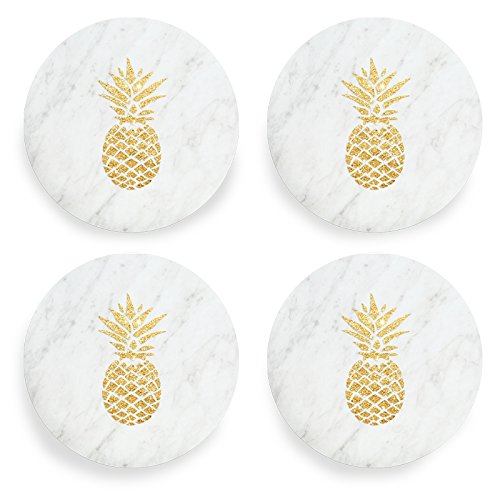 Wild Pineapple (Wild Eye Designs Round Marble Coasters Set of 4, Gold Pineapple)