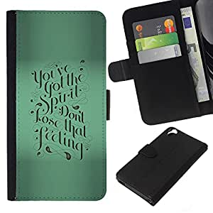 KLONGSHOP // Tirón de la caja Cartera de cuero con ranuras para tarjetas - Verde motivación Caligrafía texto de Blur - HTC Desire 820 //