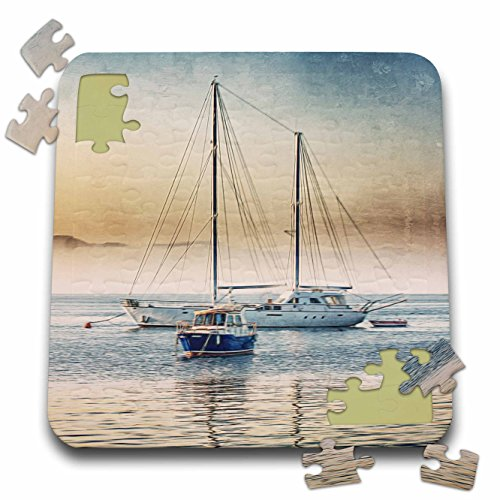 Andrea Haase Illustration - Sail Boats At Sunset Watercolor Illustration - 10x10 Inch Puzzle (pzl_274846_2)