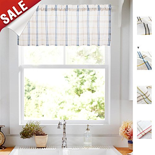 (Valance Window Curtain Kitchen Voile Panel Sheer Drape Rod Pocket Blue Panel 18 inch Long 60 inch Wide )