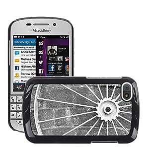 Etui Housse Coque de Protection Cover Rigide pour // M00152130 Ronda Antecedentes Hierro Antiguo Negro // BlackBerry Q10