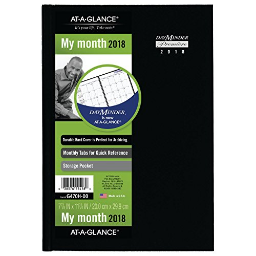 "AT-A-GLANCE DayMinder Monthly Planner, 2018, December 2017 - January 2019, 7-7/8"" x 11-3/4"", Hardcover, Black (G470H00)"