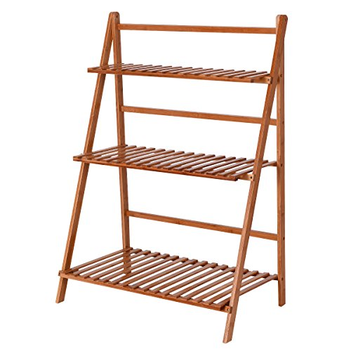 Giantex Plant Flower Stand Rack Shelf 3-Tier Bamboo Foldable Pot Racks Planter Organizer Display Shelves