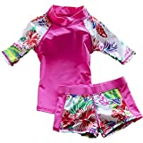 Baby Girls Kids Toddler Two Piece Round-Neck Rash Guard UV Sun Protection Beach Swimsuit (2-3 Years old, Rose)