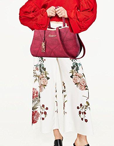 NICOLE&DORIS Mode Bolsos de Mano para Mujer Monederos Bolso Crossbody Mujer Bolso de Bandolera Bolsa Durable PU Negro Rojo