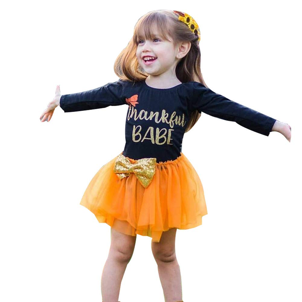 Baby Clothes Set,Toddler Kids Baby Girl Letter Bow Tutu Tulle Dress Thanksgiving Outfits Clothes+Christmas Pents Set G-real