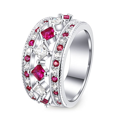 T&T ring Fashion Luxury Pink Zircon Silver Color Ring Jewelry for Women Wedding Engagement Rings (Heart Tiffany Style Key Ring)