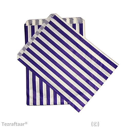Tezraftaar® 200 7″x9″ Candy Stripe Paper Bags Sweet Favour Buffet Gift Shop Wedding Party Sweets Cake (Choose Colour) (Blue)