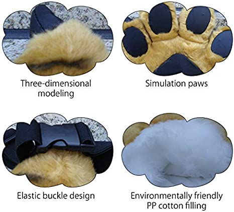 TINTON LIFE Fluffy Cosplay Costume Set Soft Plush Animals Ears Headband Tail Paws for Adult Kid