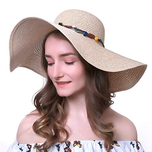 Women's Wide-Brimmed Straw Hat Foldable Roll up Sun Hat Beach Cap UPF 50+ with Elastic Band Khaki