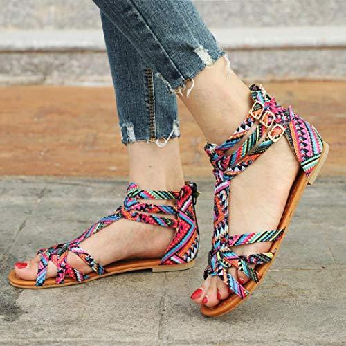 de Planas Zapatos Grandes Elegante Cuero de Rosa Bohemia Cómodo Marrón Y Mujer Multicolor Rhinestone Bohemio Sandalias Piedras Mujeres OHQ Estilo para Blanco Tallas fwaA5nEq