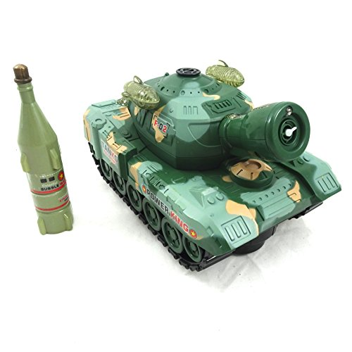 Cute Bubble Blowing Toy Tank – Battery Operated Military Tank With Bump N Go With Bubbles