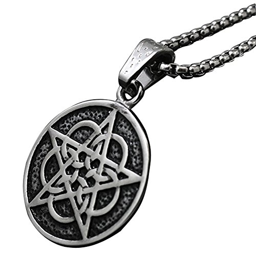JMQJewelry Pentagram Pentacle Mens Necklace Pagan Wiccan Witch Gothic Pewter Pendant Stainless Steel Traditional Seal of Solomon