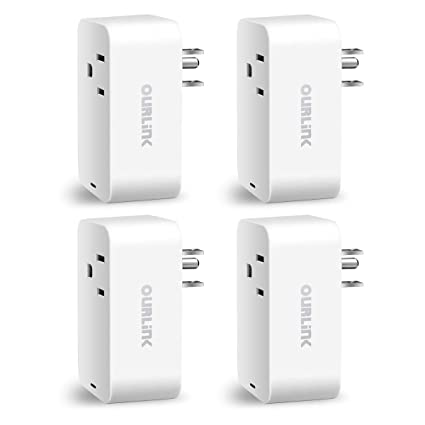 OURLINK Smart Plug 4 Pack, WiFi Enabled Mini Smart Switch, Work with Amazon  Alexa & Google Assistant, No Hub Required, Remote Control Your Devices