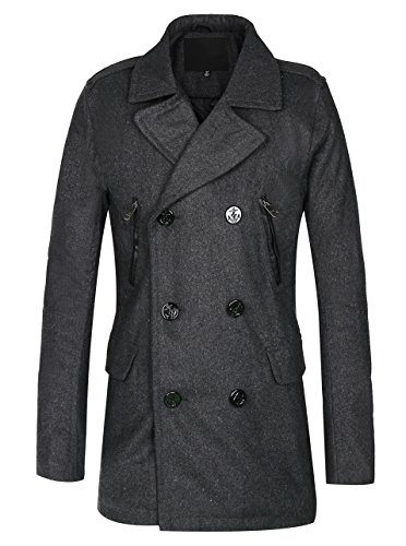 Quilted Peacoat (Men's Wool Blend Jacket Quilted lining Pea Coat Dark Grey)