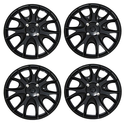 (Tuningpros WC3-15-3533-B - Pack of 4 Hubcaps - 15-Inches Style 3533 Snap-On (Pop-On) Type Matte Black Wheel Covers Hub-caps)