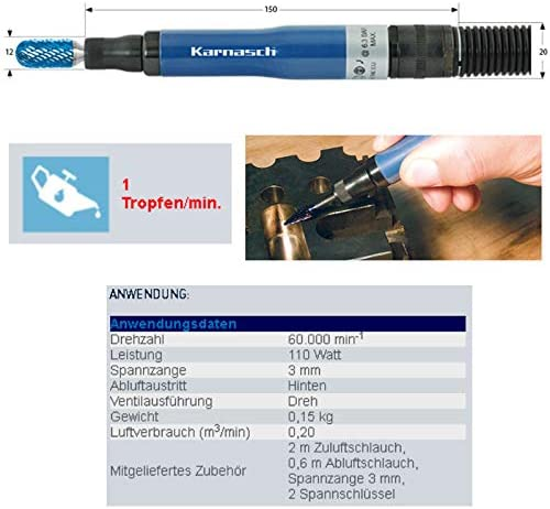 114706 Karnasch Druckluft Profi-Geradschleifer KA60R für Frässtift Zapfenfräser Rotationsfräser Fräsere Schaft 3,0mm, 60000 U/min