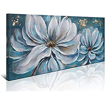 Large White Flower Painting Wall Art Decor Canvas Print Picture Living Room White Flower Gray Blue Themed Canvas Art Home Office Bedroom Decoration