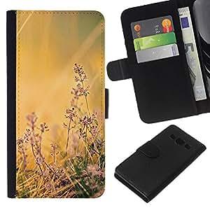 KLONGSHOP // Tirón de la caja Cartera de cuero con ranuras para tarjetas - Flores de campo - Samsung Galaxy A3 //