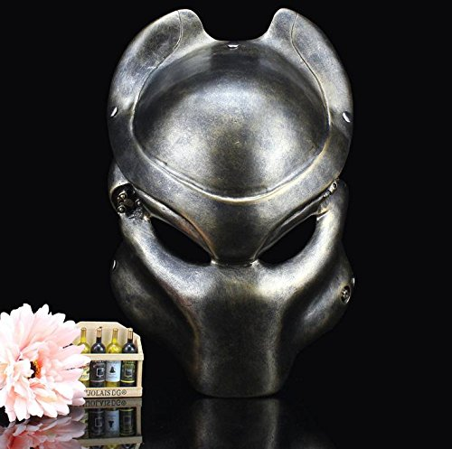 (meg Predator Mask Hottoys Cosplay Halloween Face Mask Collection Pure Handmade Man Helmet Movie Theme of Predator Wolf Resin Mask Silver)