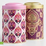 Stylish Purple Pink and Gold Tea Canister set of 2. Airtight lid, Metal , Tin canisters set, Tea Container, Storage tins.