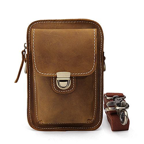 Brown Phone Leather For Strap black shoulder Fanny Case Climbing Pack Modelshow Cell Military Small Hiking Pouch Strap Mini Genuine Sport shoulder ES7ETwqnU0