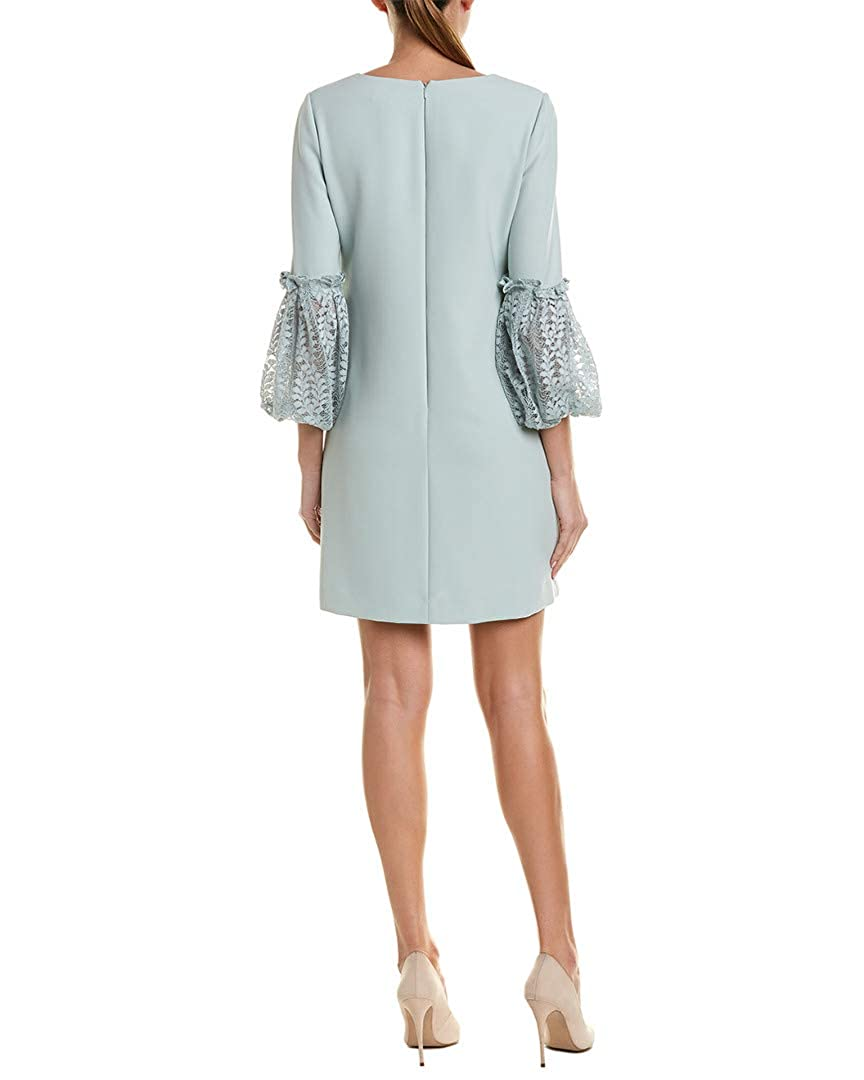 c3ac74d10a28 Tahari ASL Women's Lace Sleeve Shift Dress Whispering Blue 4 at Amazon  Women's Clothing store: