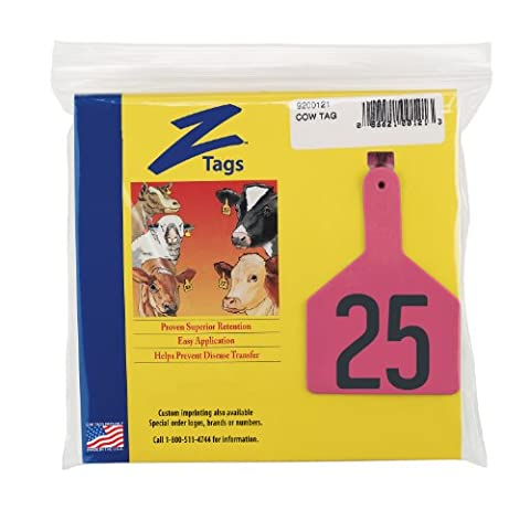 Z Tags 1-Piece Pre-Numbered Hot Stamp Tags for Cows, Numbers from 1 to 25, Pink
