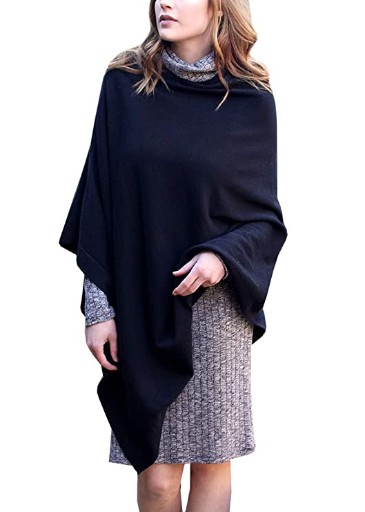 Women's Knit Poncho Sweater Knitted Pullover Cardigan Topper, 100% Organic Cotton, Super Soft, All-Season (15 COLORS)