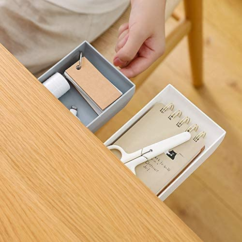 cassetto autoadesivo bianco, confezione da 2 ufficio scuola matite Organizer sotto la scrivania cassetto portaoggetti nascosto sotto la scrivania per trucco