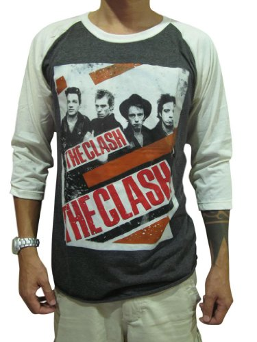 Bunny Brand Men's The Clash Band Rock Punk Music Raglan T-Shirt,XL