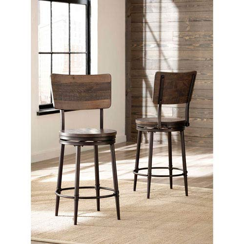 "Hillsdale Jennings 26"" Swivel Counter Stool in Distressed Walnut"