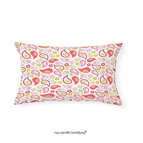 VROSELV Custom pillowcasesGirly Decor Paisley Leaf and Daisy Flowers Pattern Floral Spring Theme Girls Kids Room Nursery Decor Bedroom Living Room Dorm Decor Pink Green(16''x24'') by VROSELV