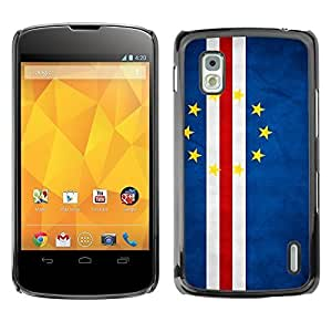 YOYO Slim PC / Aluminium Case Cover Armor Shell Portection //Cape Verde Grunge Flag //LG Google Nexus 4