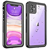 ALOFOX Designed for iPhone 11 Waterproof Case, Full Body Heavy Duty Protection with Built-in Screen Protector, Clear Sound, Shockproof Rugged Cover Designed for iPhone 11 (2019)-Black