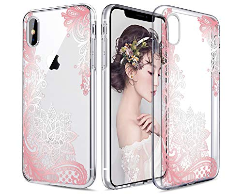Casetego Compatible iPhone Xs Max Case,Clear Soft Flexible TPU Case Rubber Silicone Skin with Flowers Floral Printed Back Cover for Apple iPhone Xs Max 6.5 2018,Rose Gold Flower