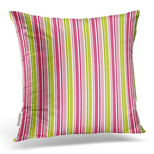Emvency Throw Pillow Covers Stylish Hot Pink Lime Green Stripes Pillowcases Polyester 16 X 16 Inch Square with Hidden Zipper Home Sofa Cushion Decorative Pillowcase