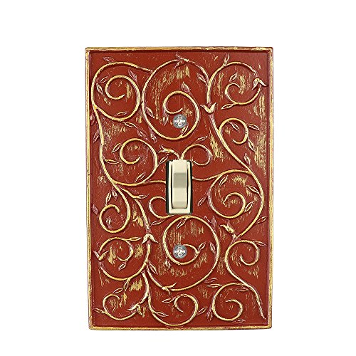 Green Light Switch Covers - Meriville French Scroll 1 Toggle Wallplate, Single Switch Electrical Cover Plate, Parisian Red with Gold