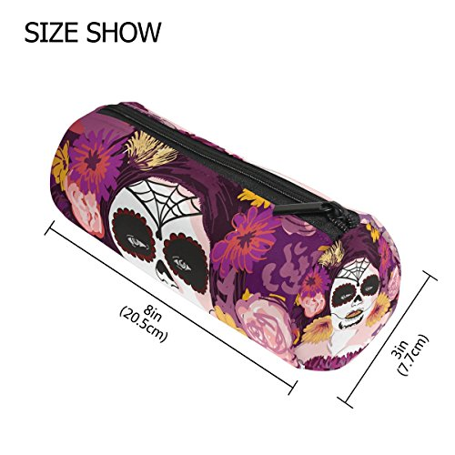 GIOVANIOR Young Pretty Mexican Sugar Skull Girl Flower Pencil Case Pen Zipper Bag Coin Organizer Makeup Costmetic Pouch for Women Teen Girls Boys (Pretty Skull Halloween Makeup)