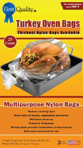 First Quality 19-Inch by 23-1/2-Inch Turkey Oven Bags 25 bags and Ties Per Box