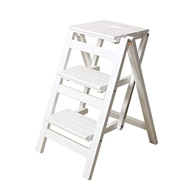 YJXJJD Folding Solid Wood Ladder Stool Chair Multi-Function Ladder Pedal Stair Stair Chair 300 Lb Capacity (White) (Size : 3 Wide Steps): Garden & Outdoor