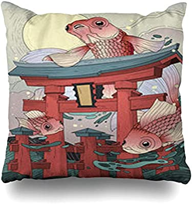 GisRuRu Throw Pillow Covers Adult Tour Japanese Torii Sea Moon Golden Retro Fishes in Abstract Asia Asian Book Fantasy Home Decor Sofa Pillowcase ...
