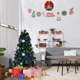 Goplus 3FT Pre-Lit Fiber Optic Artificial Christmas Tree with Multicolor Led Lights and Snowflakes Perfect for Table or Window