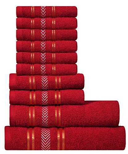 Extra Light Weight 10 Piece Family Towel Set - Festive Red 100% Natural Ring-spun finest quality cotton yarn, 400 GSM, Soft, Absorbent, Durable, Reasonable, Quick Dry - DIVINE Essence ()