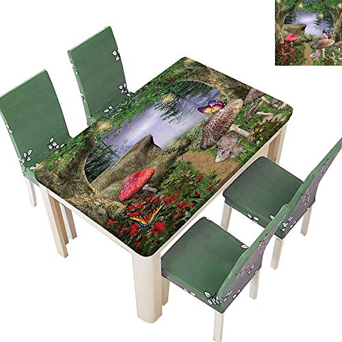 (SpillProof Tablecloth Enchanted Nature Pathway Butterfli TRE Rocks Fairytale L Scape Color for Picnic,Outdoor or Indoor 50 x 102 Inch (Elastic Edge))